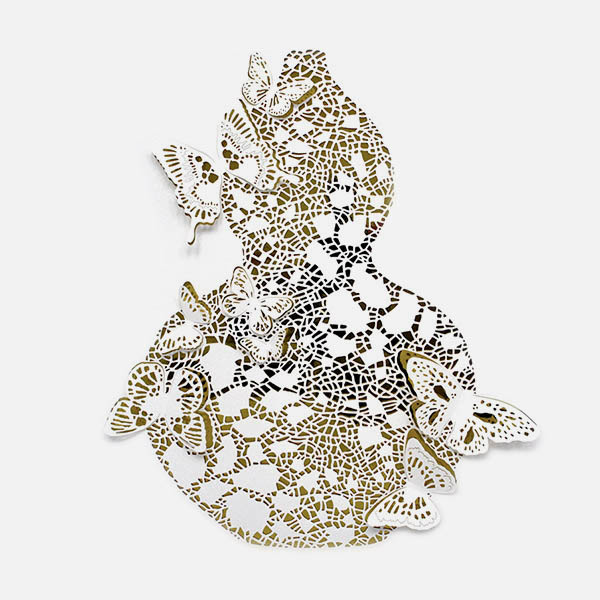 Hong Kong artist Dana Shek's paper cut art of a vase and butterflies.