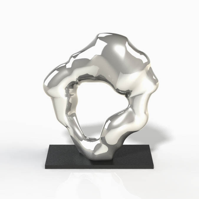 Silver abstract sculpture by Alvin Mak of Urban Impressions.
