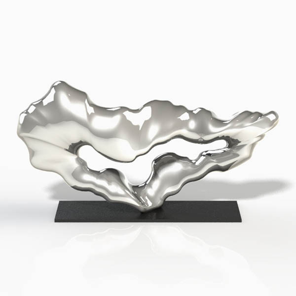 Abstract sculpture made from stainless steel by Alvin Mak.