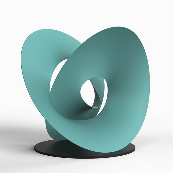 Colourful sculpture in a spiral shape with a turquoise finish by Alvin Mak.
