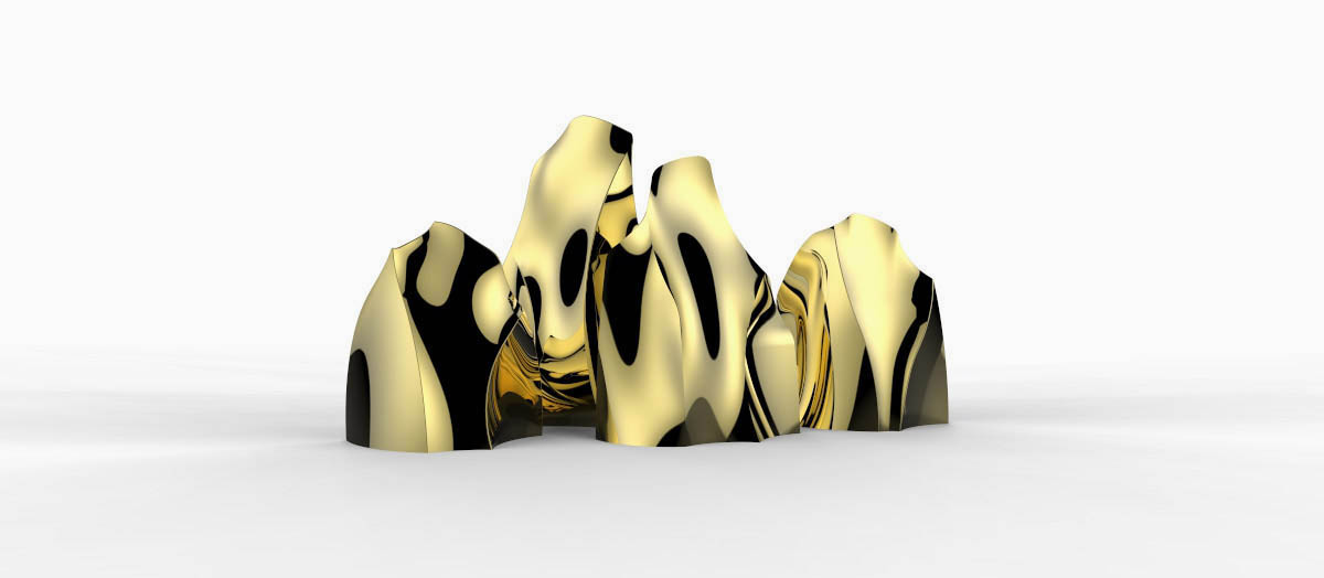 Modern gold sculpture series inspired by mountains and landscapes.