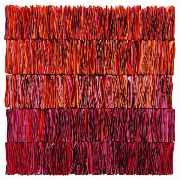 Pink, red and orange paper work by Hong Kong artist Dana Shek.