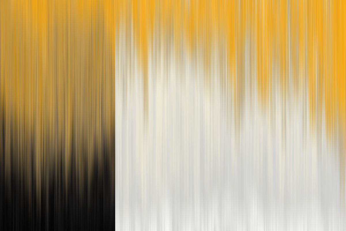 Minimal art in black, gold and white by Hong Kong artist Dana Shek.