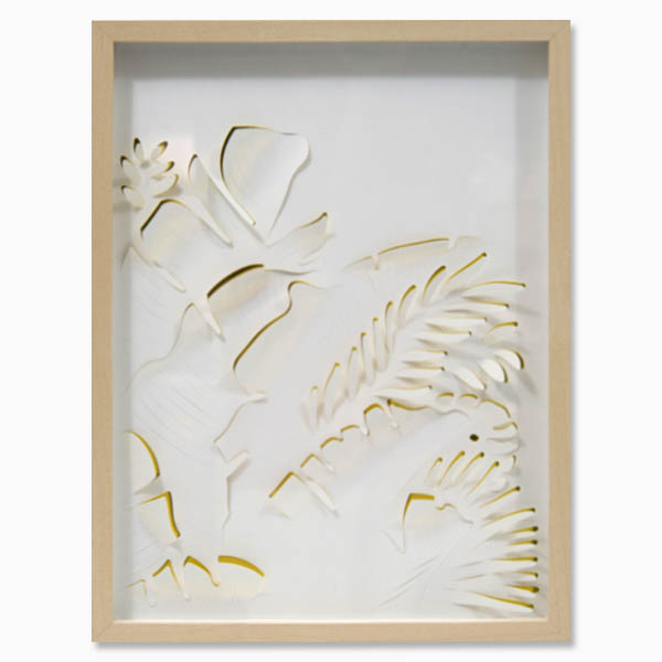 White and gold botanical wall art by Alvin Mak.