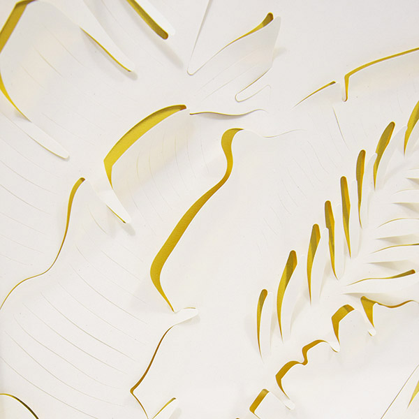 Close up detail of paper cutting art by Alvin Mak.
