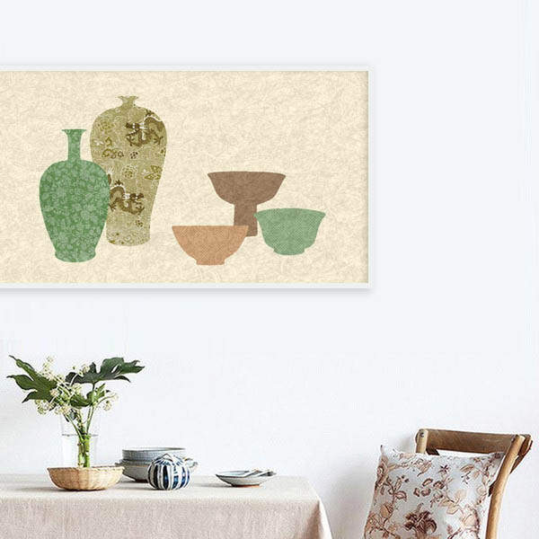 Modern wall art of traditional Chinese vases and vessels by Hong Kong artist Dana Shek.